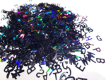 Holographic Black Alphabet Glitter, 5mm, IMPERFECT