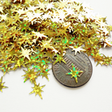 Hologram Gold Starburst Sequins, 9x8mm