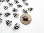 13x10mm 3D Antique Silver Skeleton Hands with Rhinestones