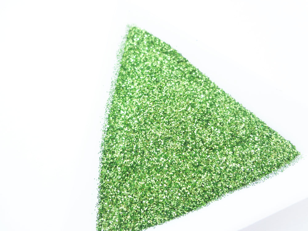 "Spring Green Loose Ultra Fine Glitter, .008"" Hex, 0.2mm 1/128"