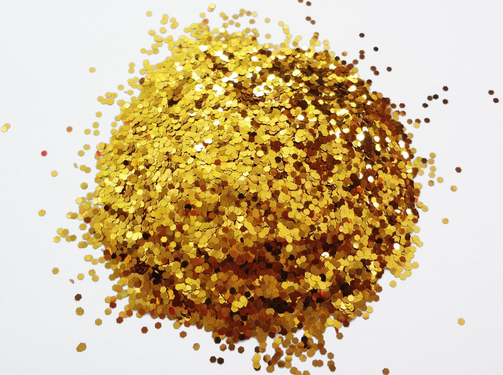 "Rich Gold Loose Glitter, .040"" Hex, 1mm, 1/24"