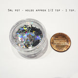 Iridescent Blue Chubby Bone Sequins, 8x6mm