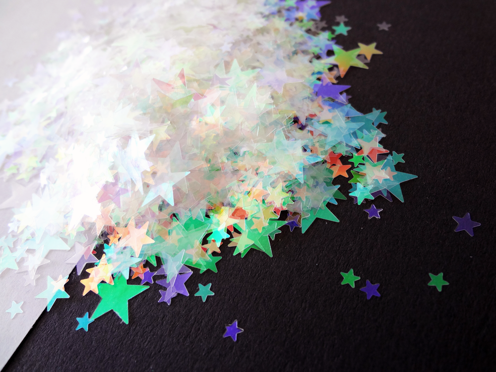 Iridescent Stars Glitter, 3mm, 4mm, 6mm and 10mm mix, Solvent Resistant Glitter