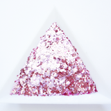 "Ice Pink Loose Glitter, .040"" Hex, 1mm, 1/24 Solvent Resistant Glitter"