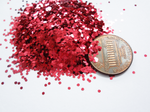 "Lipstick Red Loose Glitter, .040"" Hex, 1mm, 1/24"