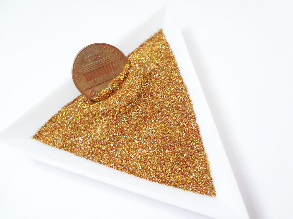 "Holographic Laser Gold Loose Ultra Fine Glitter, .008"" Hex, 0.2mm 1/128 Solvent Resistant Glitter"