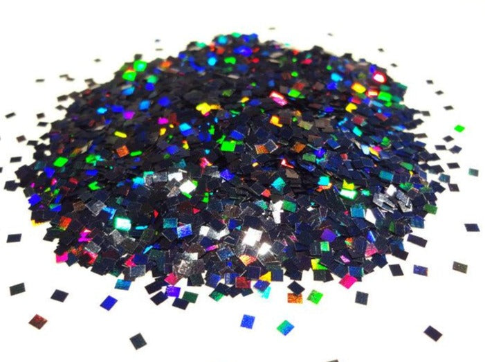 Holographic Laser Black Square Rectangle Glitter, 2mm