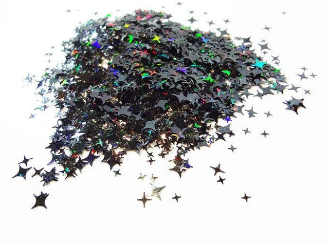 Holographic Black Four Point Stars Glitter, 2mm, 4mm and 5mm mix, Solvent Resistant Glitter