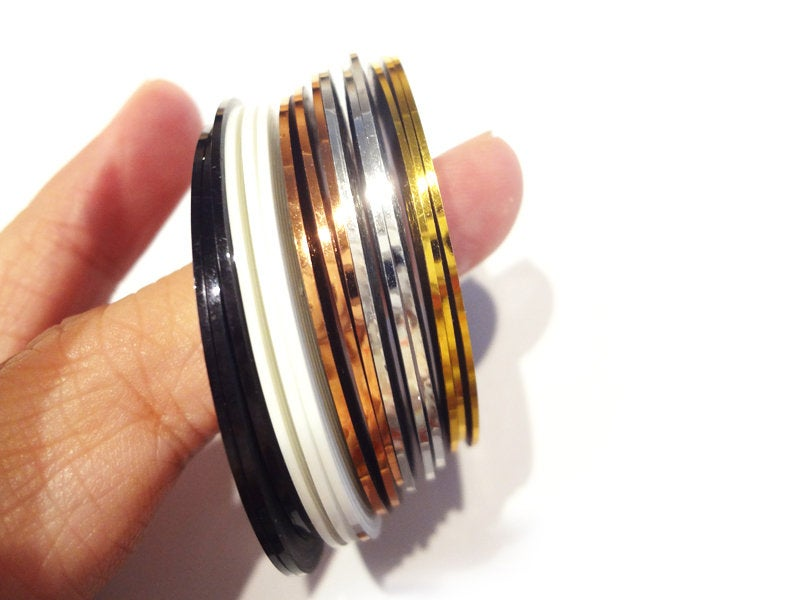 Black, White, Gold, Silver, or Bronze Nail Tape, 1mm