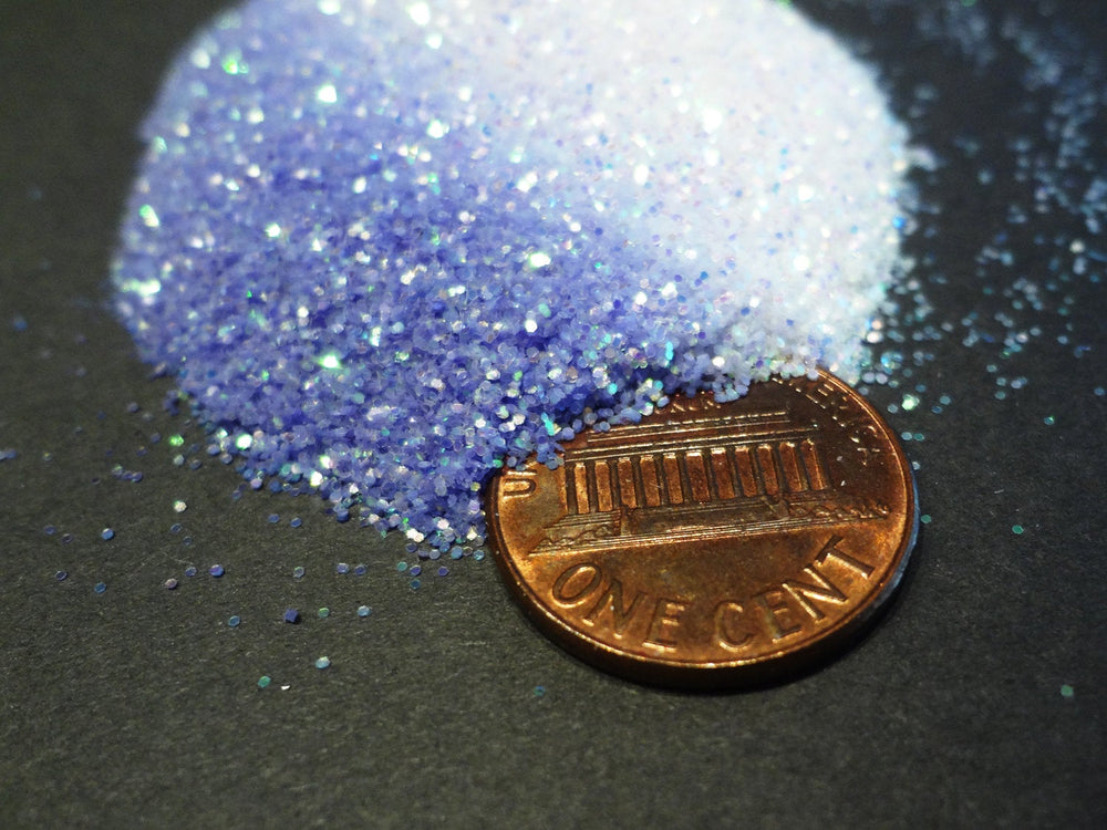 "UV Activated Glitter, Iridescent to Periwinkle Blue, .015"" Hex, 0.4mm, 1/64"