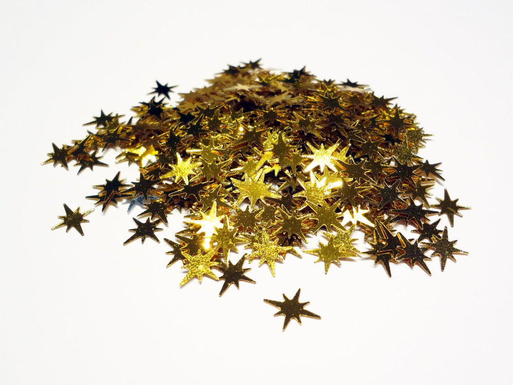 Shiny Gold Starburst Sequins, 9x8mm