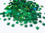 Holographic Green Hemp Leaf Glitter, 6mm