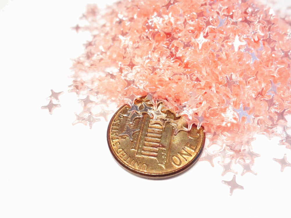 Translucent Apricot Pink Four Point Stars Sequins, 4mm