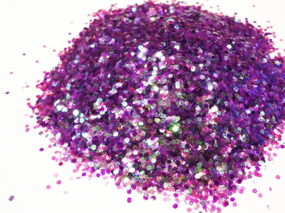 "Iridescent Purple Mix Loose Glitter, .040"" Hex, 1mm, 1/24 Solvent Resistant Glitter"