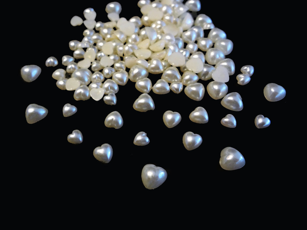 4mm, 5mm, 6mm White Pearl Heart Flatbacks