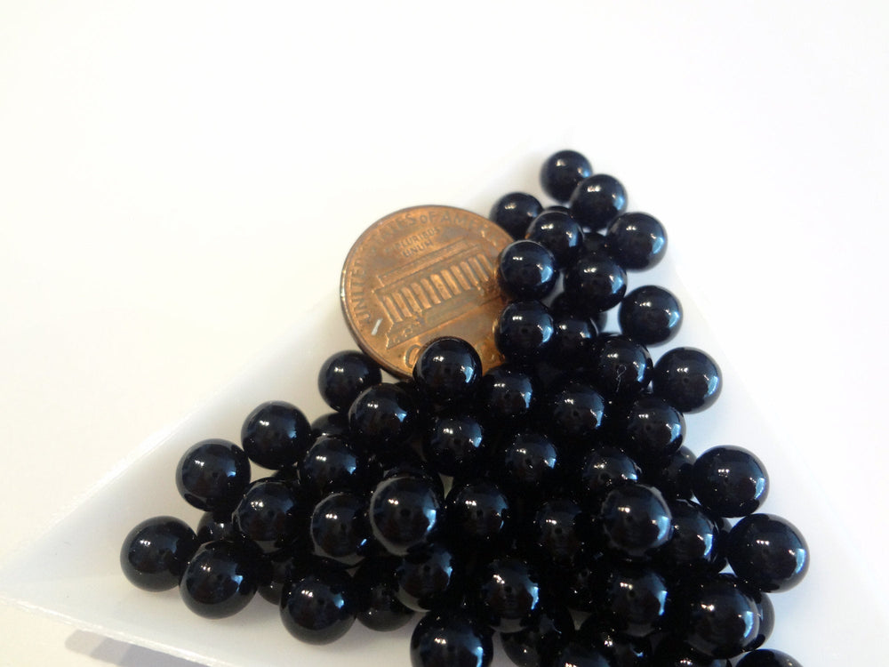 6mm Black Boba Pearls, No Hole Beads