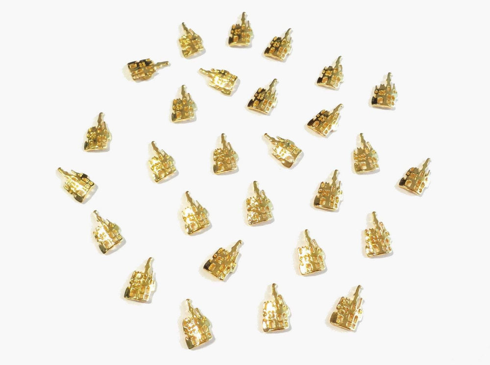 10x6mm 3D Gold Castle
