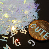 Iridescent White-Blue Alphabet Glitter, 5mm, IMPERFECT, Solvent Resistant Glitter
