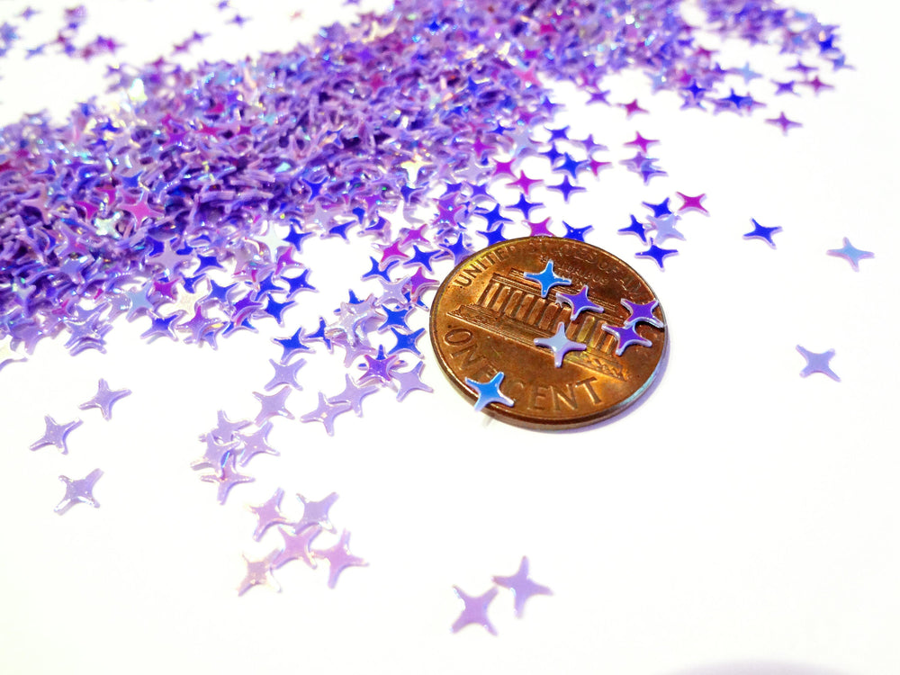Iridescent Purple Four Point Stars Sequins, 4mm