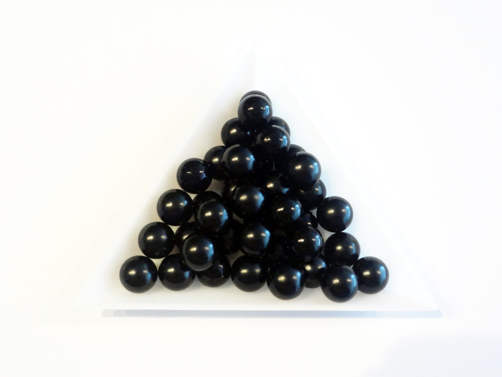 8mm Black Boba Pearls, No Hole Beads