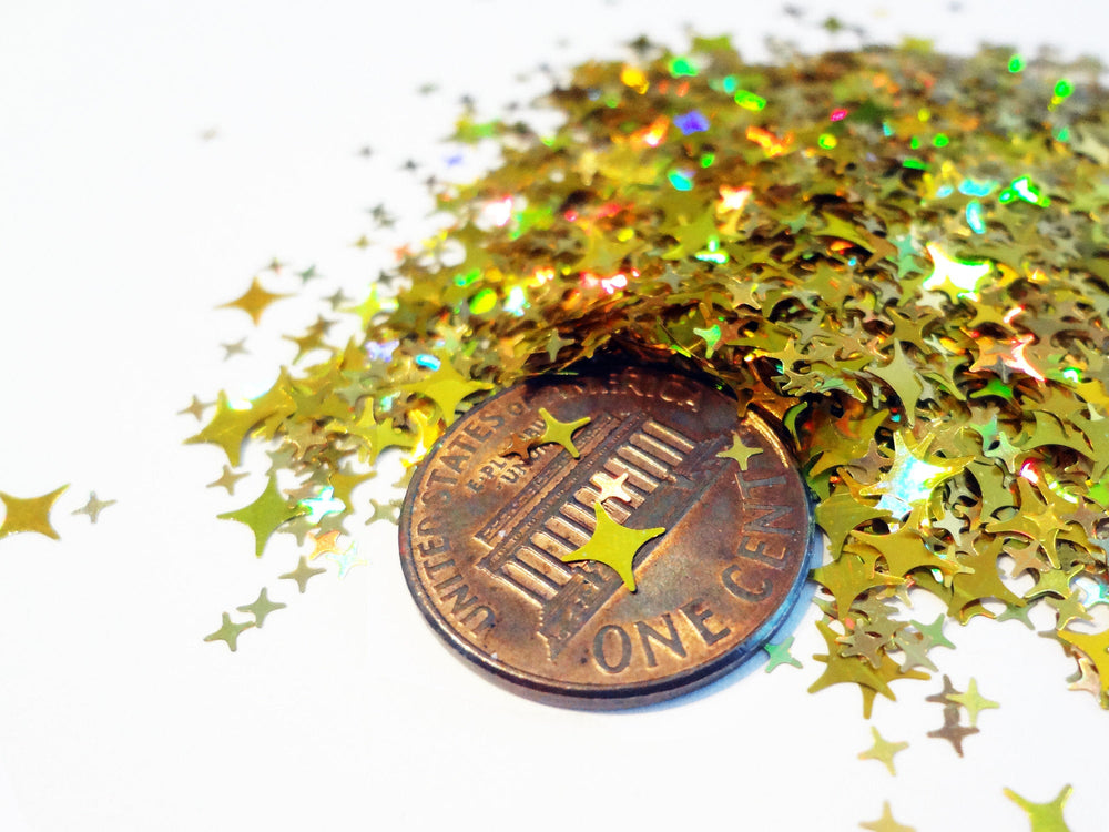 Holographic Gold Four Point Stars Glitter, 2mm, 4mm and 5mm mix, Solvent Resistant Glitter
