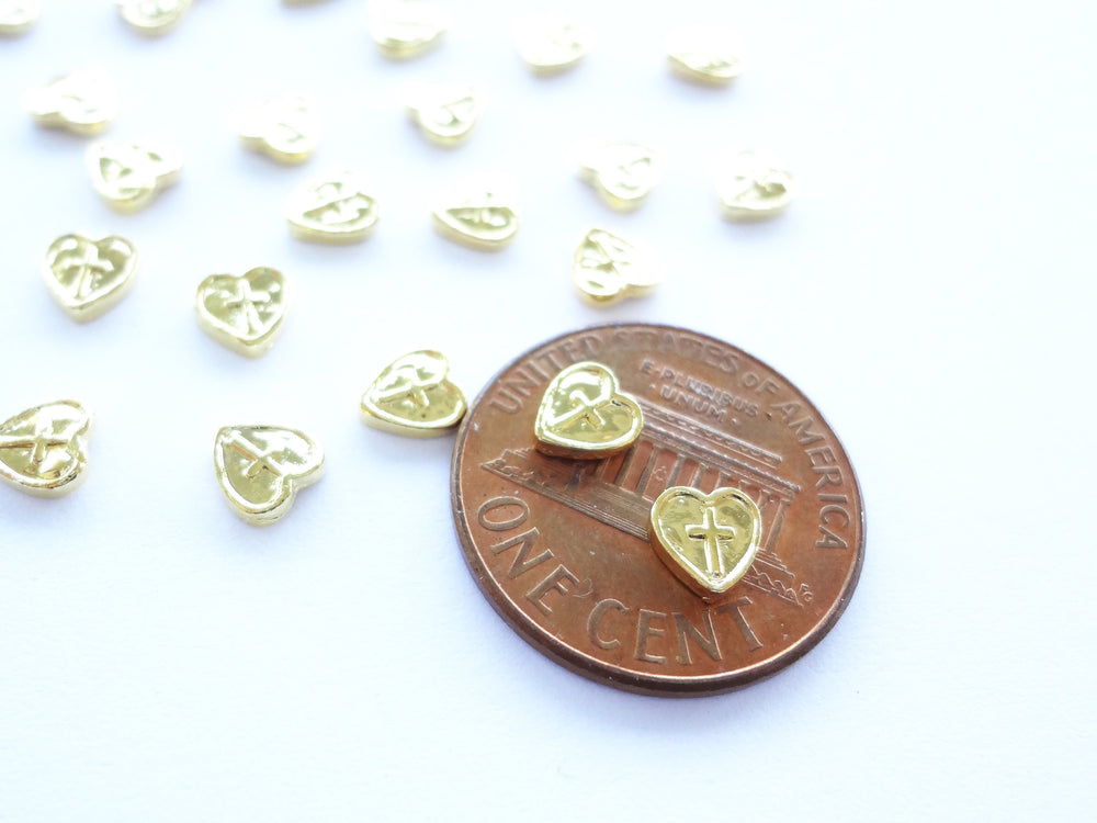 5mm Gold Heart Shield with Cross