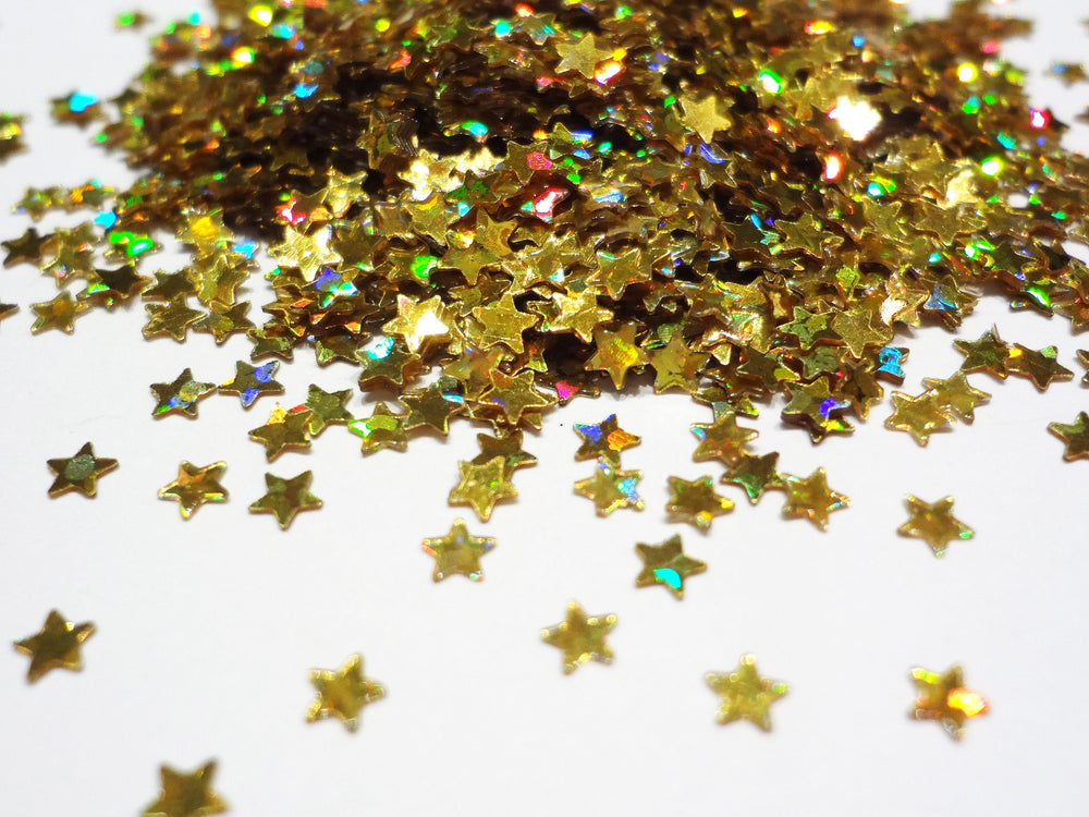 Holographic Gold Tiny Star Sequins, 2mm