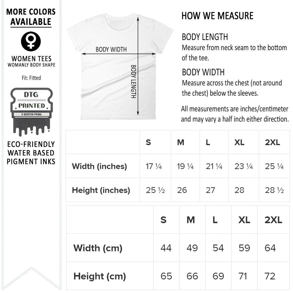 Women's Graphic T-Shirts Size Chart for Anvil 880