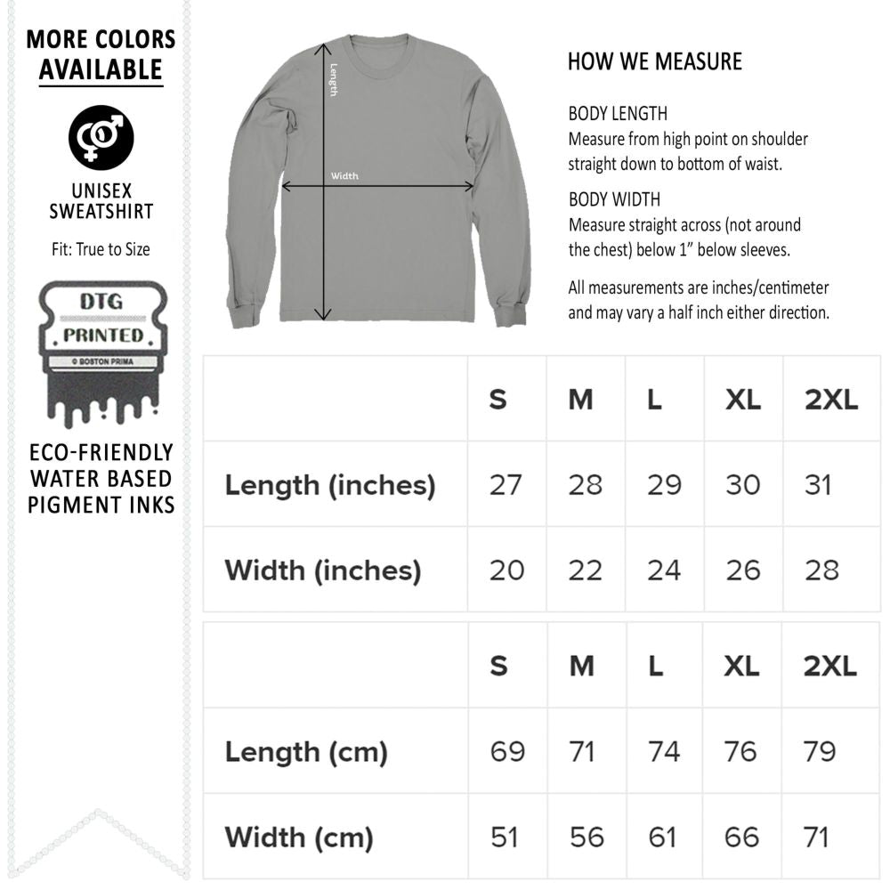 Sweatshirt Size Chart from Gildan 18000