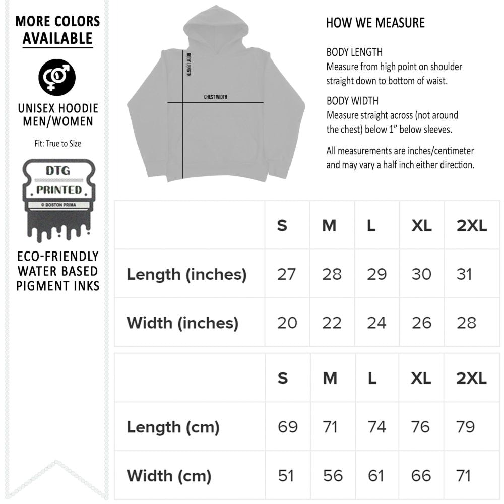Hoodie Size Chart from Gildan 18500