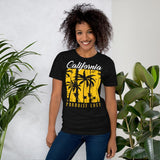 A female model wearing a California palm tree tee shirts: Cali vintage graphic t-shirts - black heather - front view