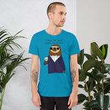 A male model wearing a Funny animal tee shirts: cute sloth businessman shirts - aqua - side view
