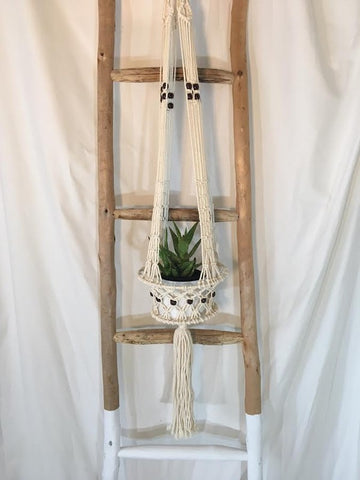Macrame Basket Plant Pot Holder with bead detail