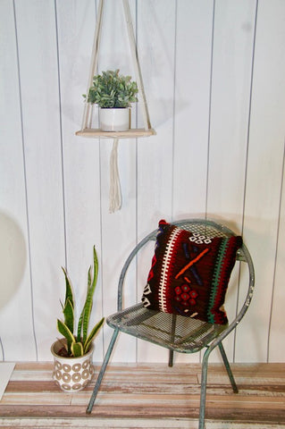 Macrame Natural cotton /wood shelf plant hanger