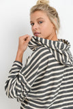 Striped Hoodie Wide Sleeve Top