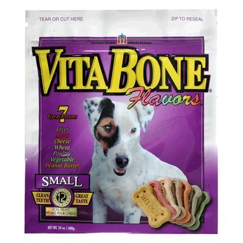 Vita Bone Multi Flavors Dog Biscuits Small - 6 Flavor - Original, Chicken, Vegetable, Cheese, Beef, Liver - Digestible. Made in the USA. 24 oz. Box