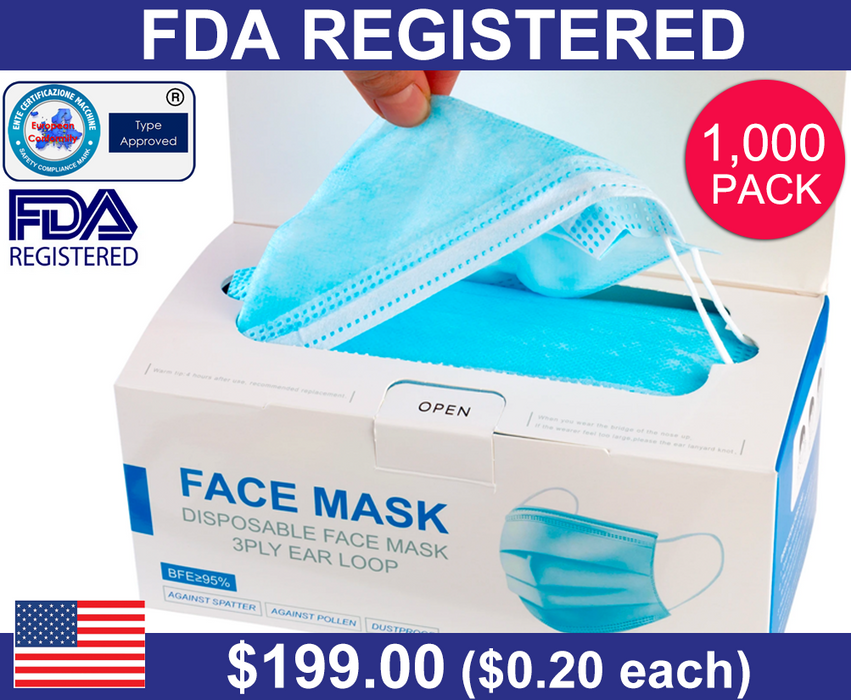 3-Ply Disposable Face Mask (1000 Pack)