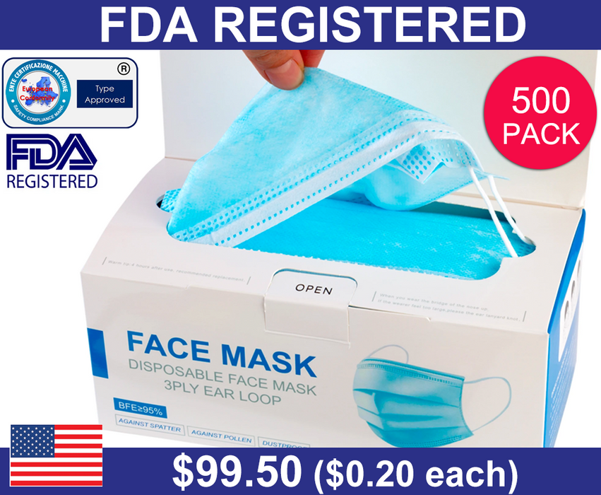 3-Ply Disposable Face Mask (500 Pack)