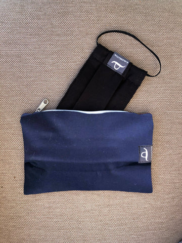 Navy Blue - Handmade Mask Pouch