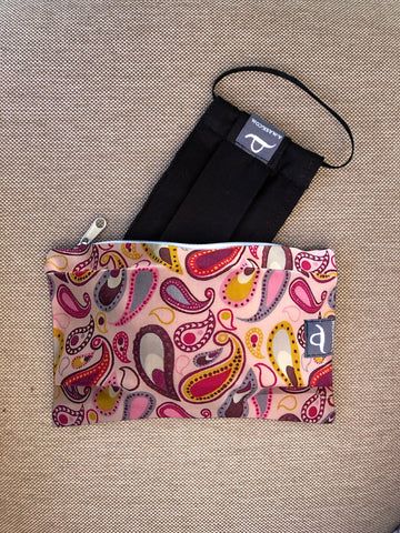 Pink Paisley - Handmade Mask Pouch