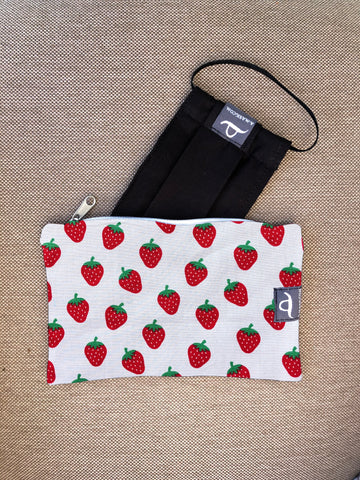 Strawberries - Handmade Mask Pouch