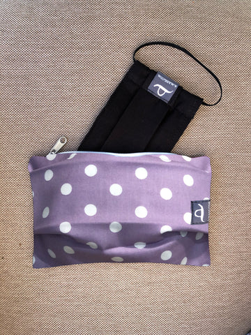 Polka Lilac - Handmade Mask Pouch