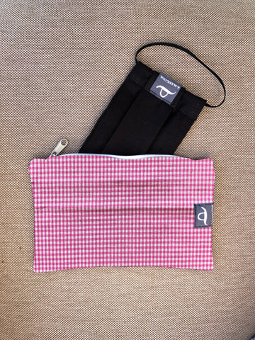 Checked Pink - Handmade Mask Pouch