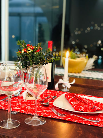 Christmas Eve - Set Decorative Tablecloth Runner & Hand Towels