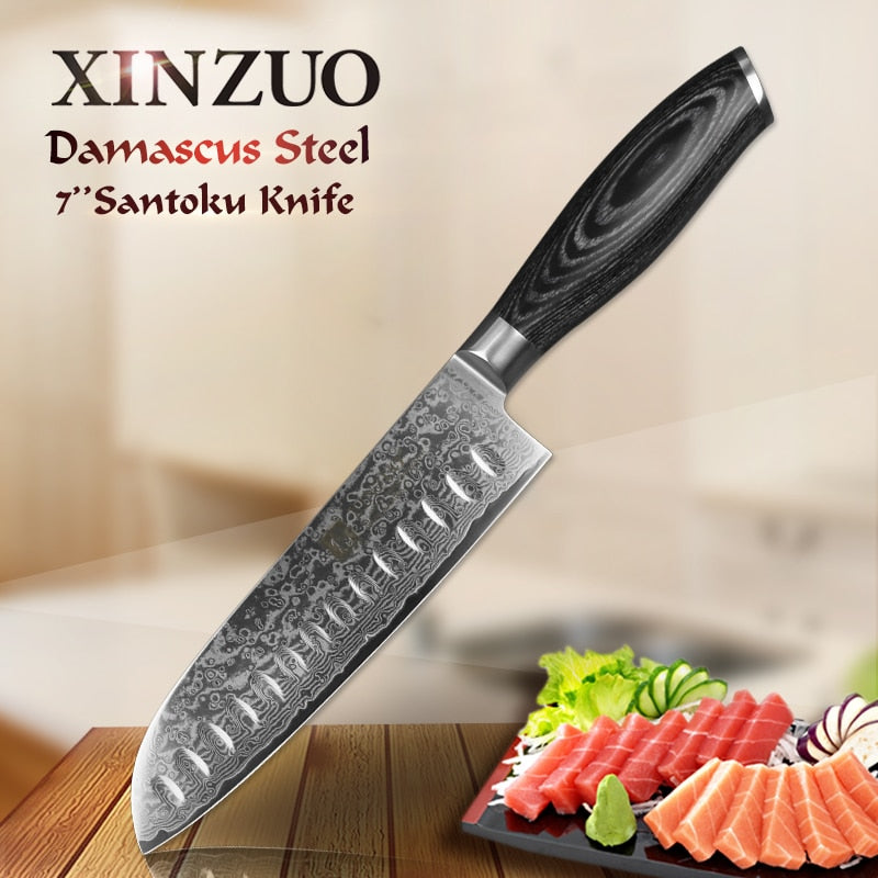 "Japanese Chef knife 7""inch Santoku Knife 67 Layer High Carbon"