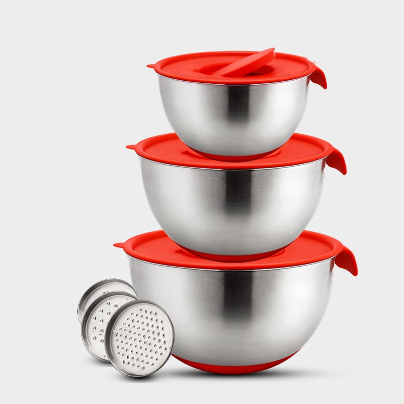 Non-Slip Mixing Bowls with Cover Grater