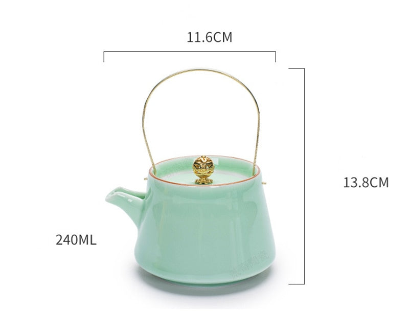 Ceramic Tea Pot & Goldfish Tea Cups - Golly Ideal Shop