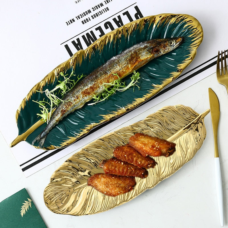 Feather Ceramic Plate - Golly Ideal Shop