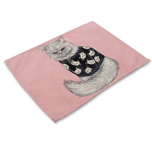 Cat Pattern Cotton Linen Table Mat - Golly Ideal Shop