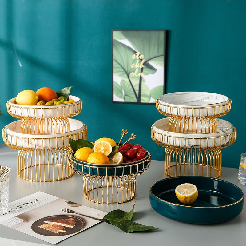Luxury Iron Ceramic Fruit Tray With Stand - Golly Ideal Shop